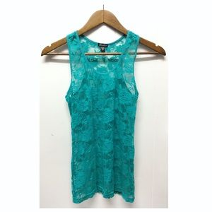 Feathers | Teal Lace Top Great for Layering EUC